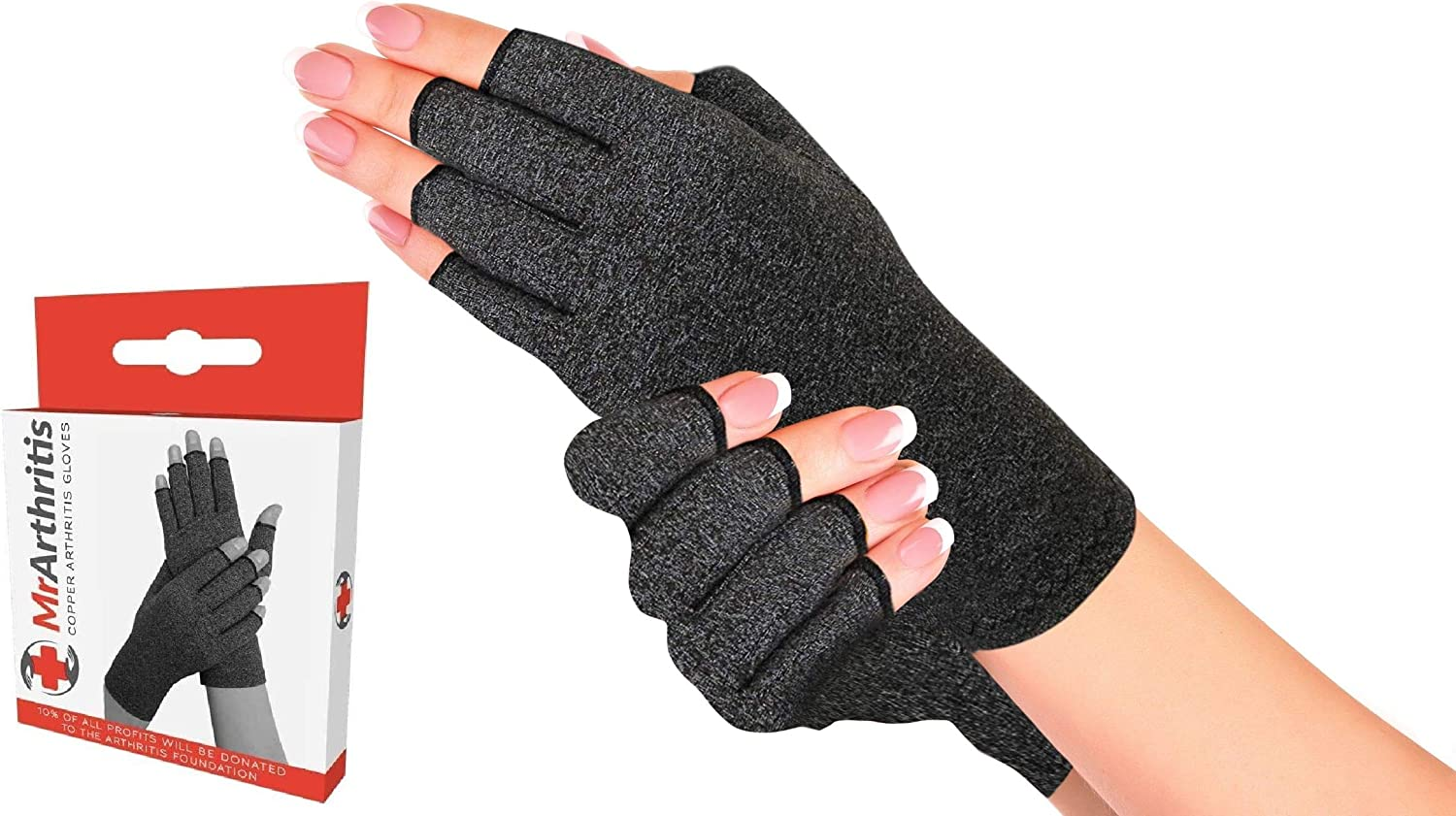 Doctor Developed Compression Glove - Handbook | Hand Support to Prevent Injury in Workout, Weightlifting | Copper Hand Gloves for Rapid Recovery, Joint Pain, Arthritis, Raynauds & Carpal Tunnel