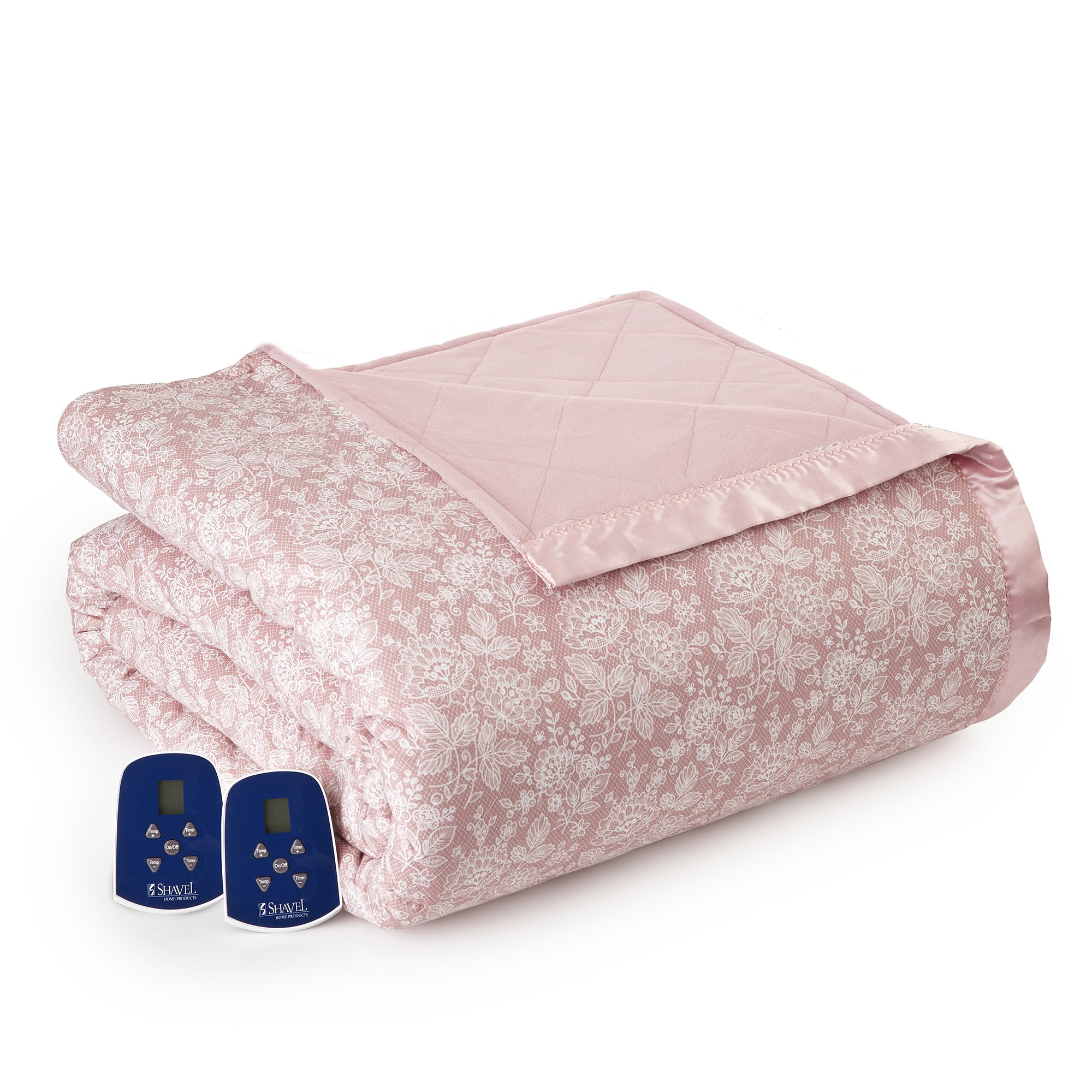 Thermee Micro Flannel Electric Blanket, Queen, Romance-Rose