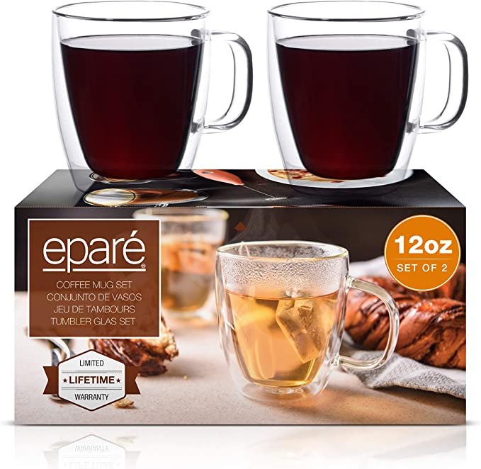 Eparé Coffee Mugs Clear Glass Double Wall Cup Set Insulated Glassware Best Large Coffee Espresso Latte Tea Glasses