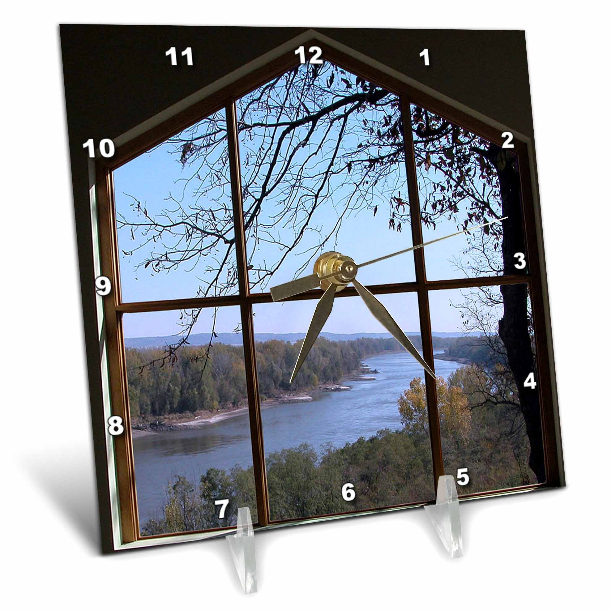 3dRose Beverly Turner Photography Picture Window of a River Desk Clock, 6 by 6-Inch