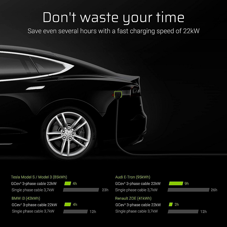 1-Phase I-Pace Leaf 32A Compatible avec BMW i3 Kona Type 2 de Type 2 eGolf Peugeot e-208 E-Tron 5 m/ètres 7.2kW Ioniq Green Cell/® GC Type 2 C/âble de Charge EV Voiture /Électrique PHEV