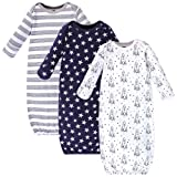 Hudson Baby Baby Cotton Gowns, Rocket Ship 3 Pack, 0-6 Months