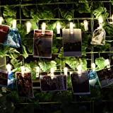 BOLWEO Battery Operated LED Photo Clips Peg String Lights,30 Picture Clips 10Ft Copper Wire Fairy Lights,for Home Wall Christmas Room Indoor Outdoor Decorations,Hanging Photos Pictures Cards,Warm White