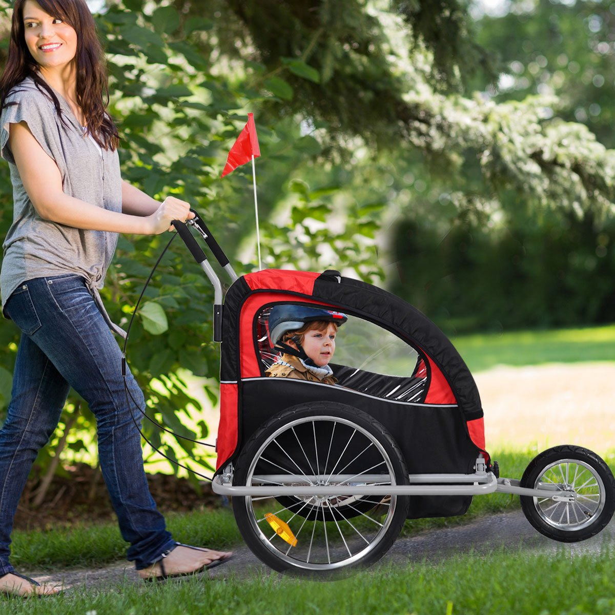 Bicycle Carrier Double Baby Bike Trailer Jogger Stroller 2 in 1 by Caraya (Image #5)