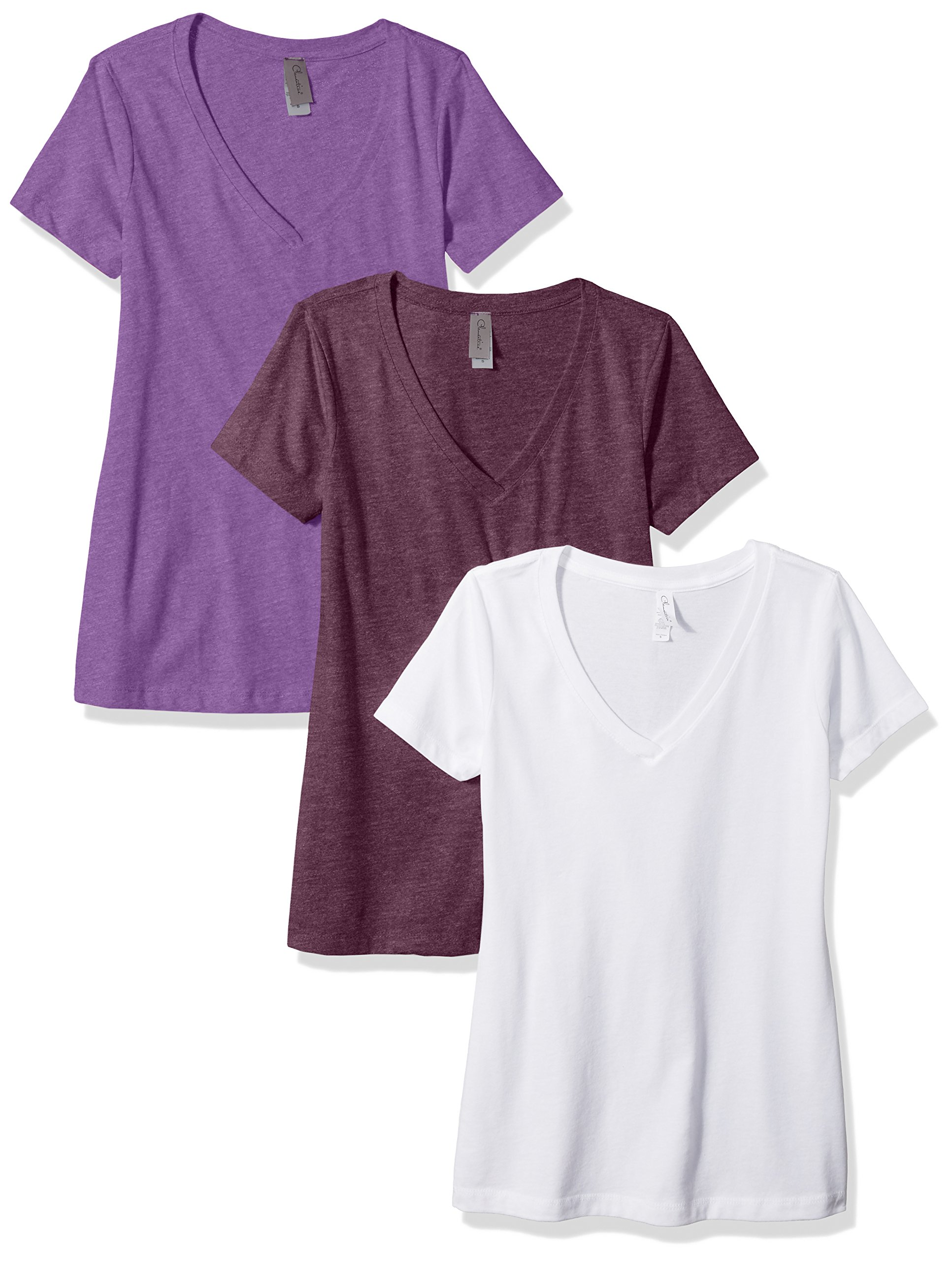 Clementine Apparel Women's Petite Plus Deep V Neck Tee (Pack of 3), WhitePlumPurple Berry, XXL