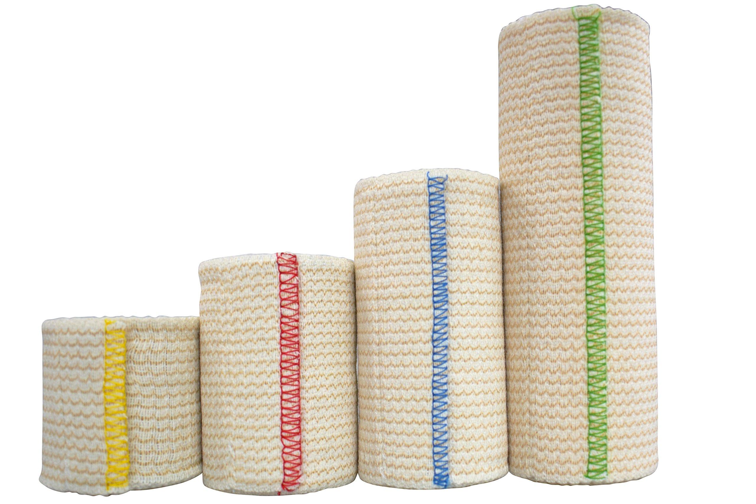 NexSkin Elastic Bandage Compression Wrap w/Hook Loop Closure, Variety - 4 Pack