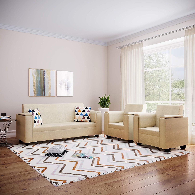 Bharat Lifestyle Galaxy Fabric 3 + 1 + 1 Sofa Set (Cream)