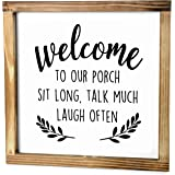 MAINEVENT Welcome to Our Porch Sign - Rustic Farmhouse Decor for The Home Sign - Front Porch Decor, Modern Farmhouse Decor, R