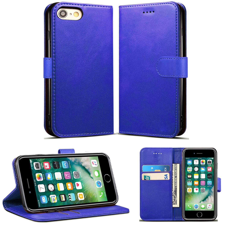 iPhone 6S Plusケース、iPhone 6 Plusケース、Primium PUレザーウォレットブックキックスタンドビューフリップスロット付きケースカバーiPhone 6S Plus / 6 Plus 5.5インチ(ブルー)   B07NQHDP9C