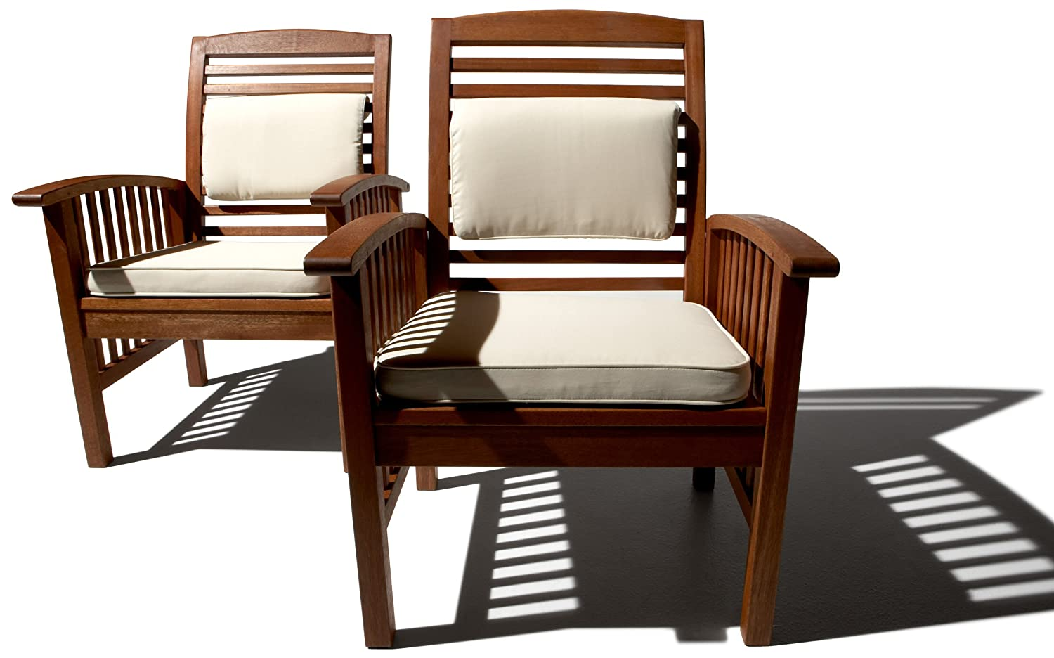 Amazon.com : Strathwood Gibranta All-Weather Hardwood Arm Chair, Set of 2 :  Patio Lounge Chairs : Garden & Outdoor