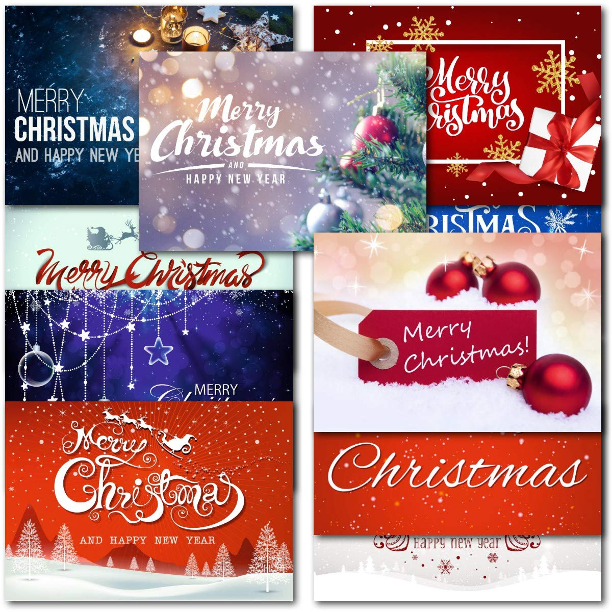 Pack of 30 Mixed Box Merry Christmas Premium Christmas Cards Doodlecards