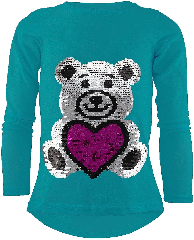 Teddybär Mädchen Langarm Wendepailletten T-Shirt Bluse Long Shirt Pullover Pulli