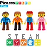 PicassoTiles Magnetic 4 Family Action Figures Toddler Toy Magnet Expansion Pack Educational Add-on STEM Learning Kit…