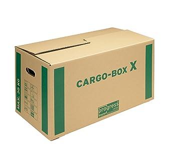 progressCARGO PC CB01.02 - Caja de embalaje, Eco, 1 ondulación, 637 x 340 x 360 mm, 10 unidades, color marrón: Amazon.es: Oficina y papelería
