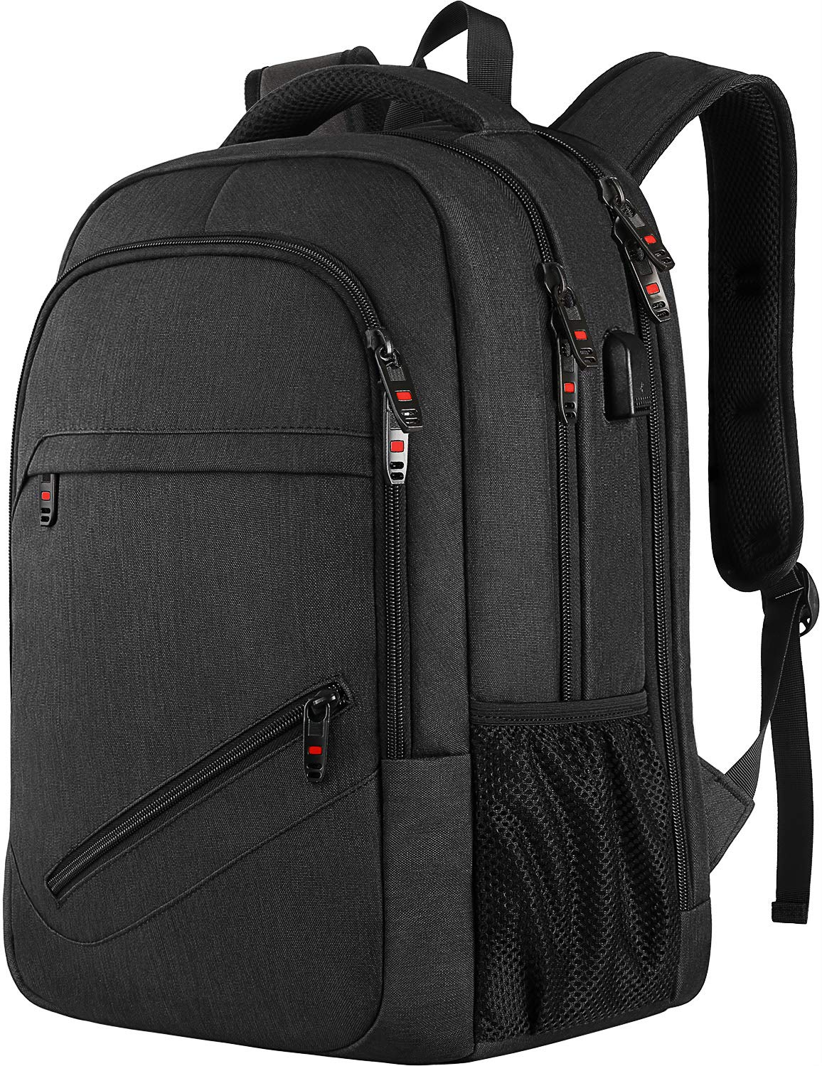 Laptop Backpack,Business Travel Laptop Backpack with USB Charging Port,Water Resistant High School Student Computer Bookbag Fits 15.6 Inch Laptop-Black