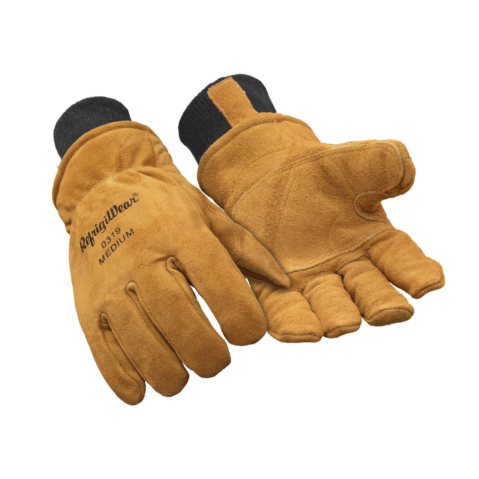 RefrigiWear Warm Fleece Lined Fiberfill Insulated Cowhide Leather Work Gloves (Gold, X-Large)
