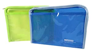 Zipper Pouch Bag School Travel Arts-n-Crafts 9.75 x 7.5 Neon Green and Blue (Pack of 2)