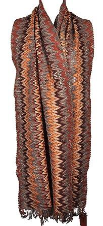 7fe43e9fc0a9 MISSONI écharpe étole  Foulard  écharpe bufanda - Orange étiquette 44 x 195  x 5cm
