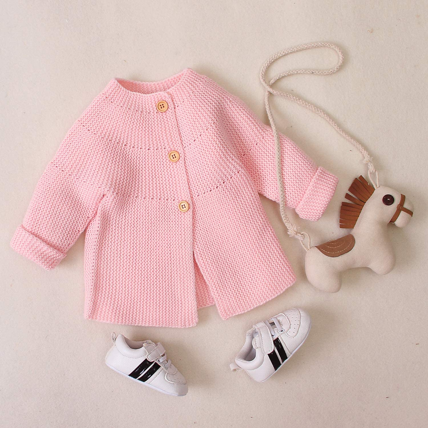 Menglo Baby Boys Girls Knit Cardigan Sweaters Newborn Baby Long Sleeve Button Down Knitted Warm Coats Outwear