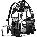 LOKASS Large Clear Backpack?Transparent PVC Multi-Pockets School Backpacks/Outdoor Backpack Fit 15.6 inch Laptop Safety Travel Rucksack with Black Trim-Adjustable Straps & Mesh Side(Black)