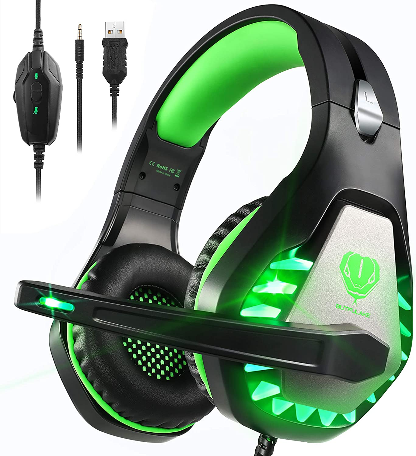 Auriculares Gaming PS4,Cascos Gaming de Estéreo con Micrófono Bass Surround y Cancelación de Ruido Auriculares Compatible para PC/Xbox One/Nintendo Switch/Mac Cascos Gaming 3.5mm Jack con Luz LED