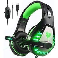 Pacrate Auriculares Gaming PS4, Cascos Gaming para PC Xbox One Nintendo Switch Mac, Auriculares con Micrófono de Estéreo…