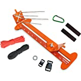 "PSKOOK Monkey Fist Jig and Paracord Jig Bracelet Maker Paracord Tool Kit Adjustable Length Metal Weaving DIY Craft Maker Tool 4"" to 13 Solid Steel Accessories(Orange)"