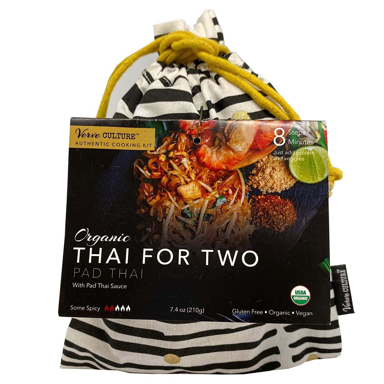 Verve Culture Thai for Two - Organic Pad Thai Noodles with Pad Thai Sauce | Authentic Thai Cooking Kit | Gluten-Free, Vegan