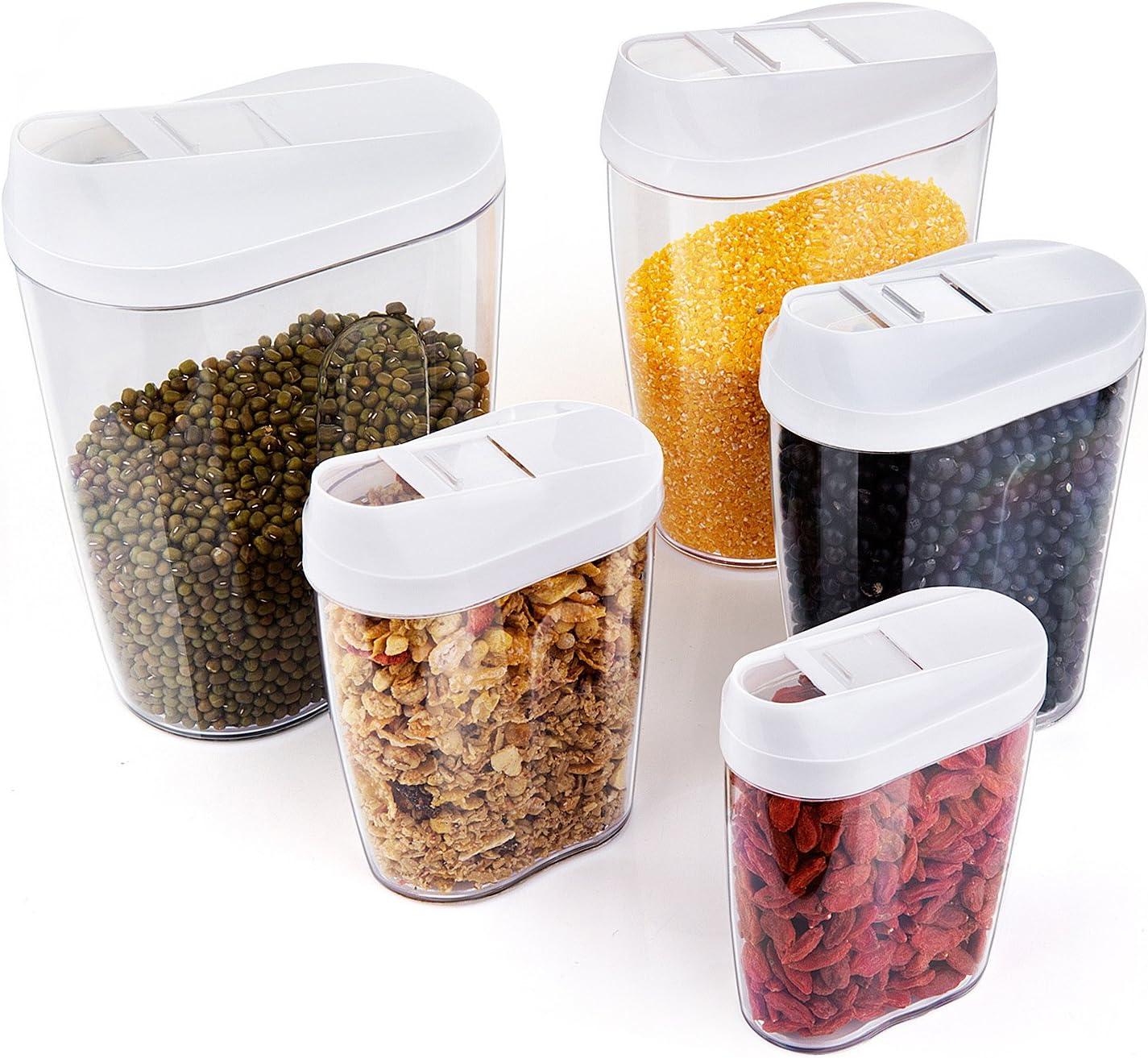 ZWOOS Plástico de Alimentos Secos Cereale Caja de Almacenamiento de La Cocina Dispensador de Contenedores con Tapa Hermética, Set de 5