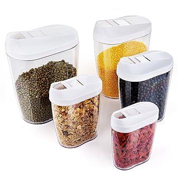 ZWOOS Plástico de Alimentos Secos Cereale Caja de Almacenamiento de La Cocina Dispensador de Contenedores con Tapa Hermética, Set de 5: Amazon.es: Hogar