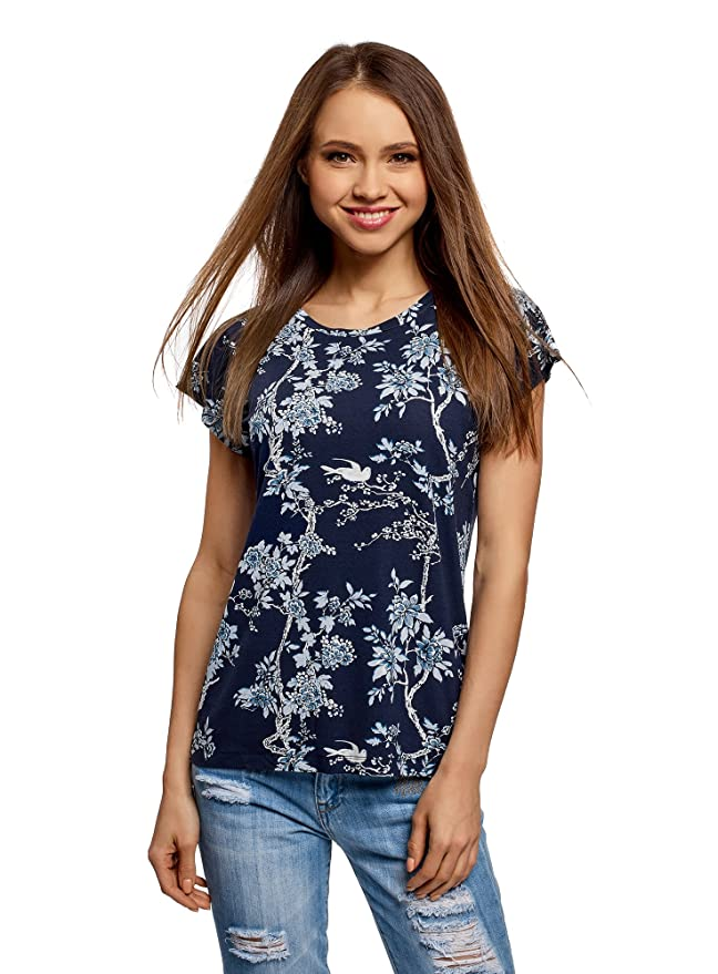 oodji Collection Mujer Camiseta de Viscosa Holgada: Amazon.es: Ropa y accesorios