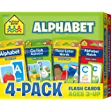 School Zone - Alphabet Flash Cards 4-Pack - Ages 3 and Up, Lowercase and Uppercase Letters, Letter-Picture Recognition, Beginning Sounds, and More (Flash Card 4-pk)