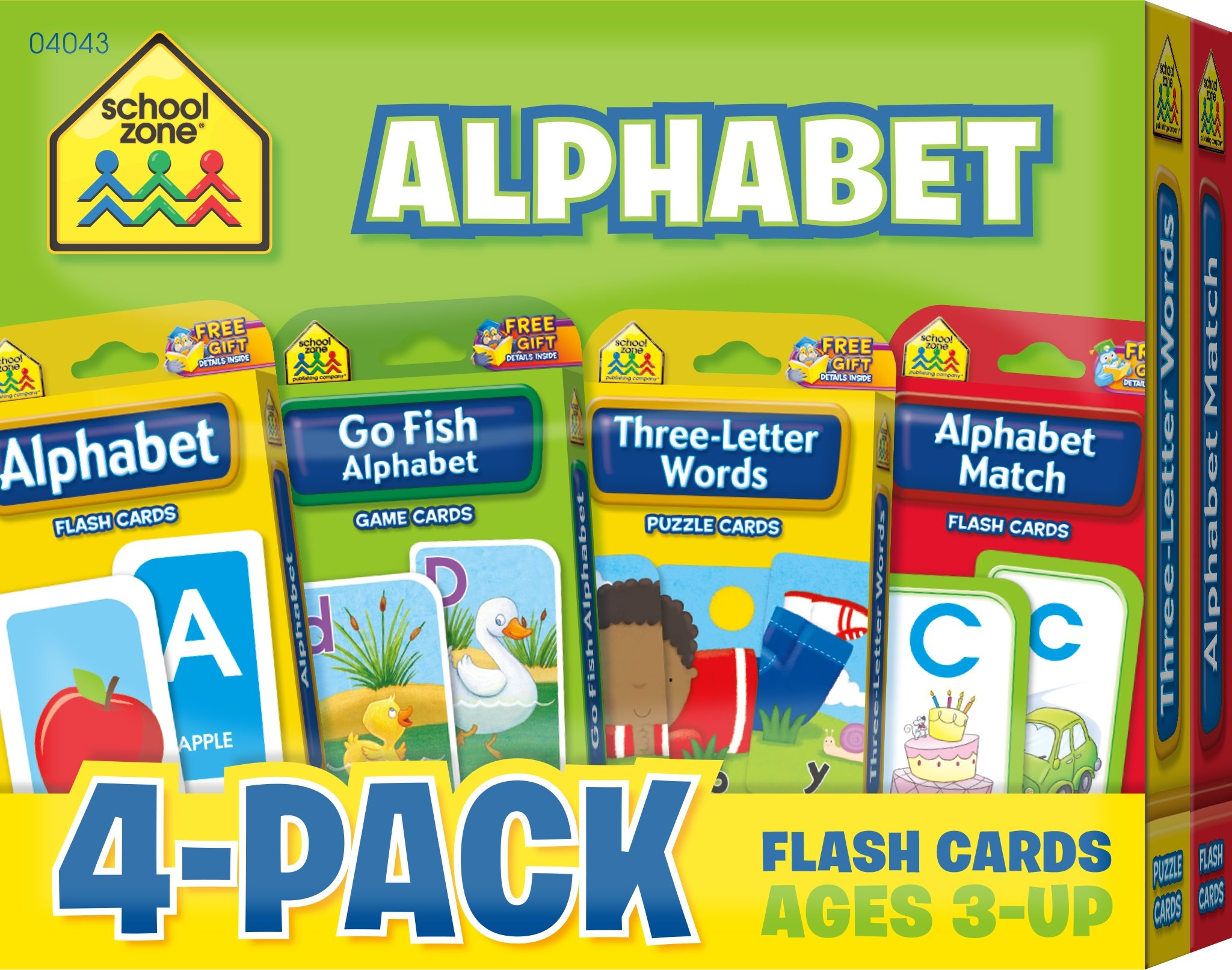 School Zone - Alphabet Flash Card 4-Pack - Ages 3 and Up, Lowercase and Uppercase Letters, Letter-Picture Recognition, Beginning Sounds, and More (Flash Card 4-pk)