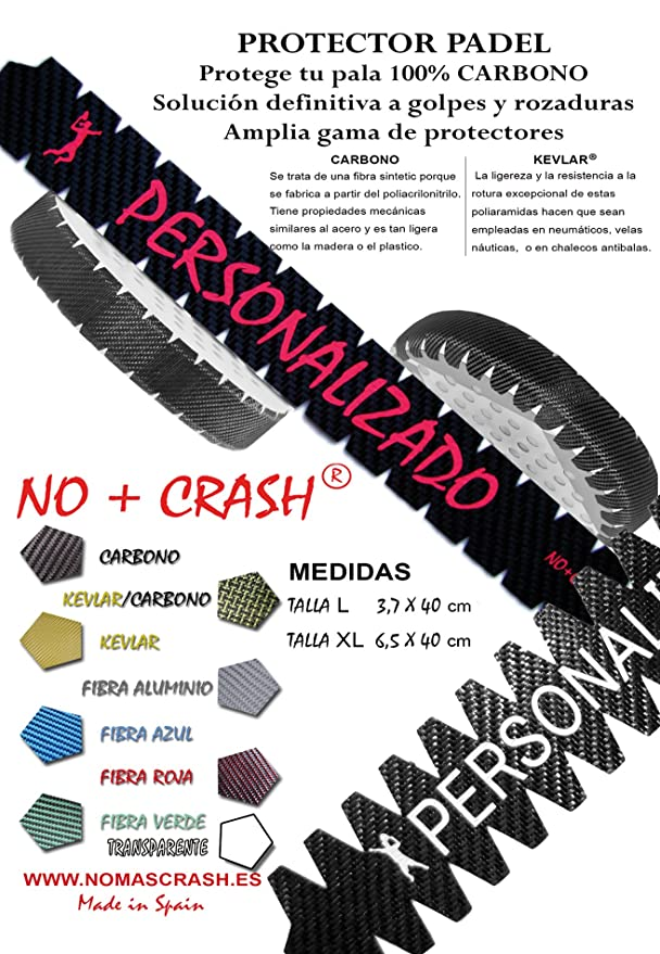 No+Crash Protector Pala/Raqueta de Padel Padlle 100% Carbono Talla ...