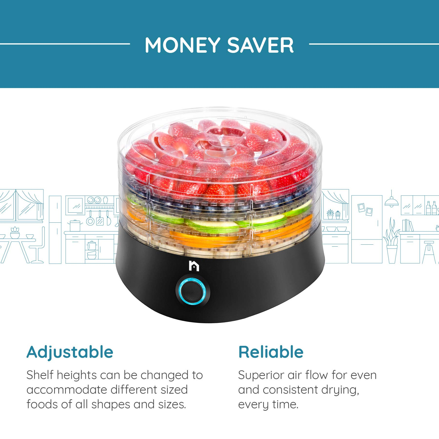 New House Kitchen 5 Round Dehydrator BPA-Free Stackable Transparent Trays Electric Professional Multi-Tier Food Preserver, Beef Jerky Maker, Fruit & Vegetable Dryer, Compact, Black by New House Kitchen (Image #3)