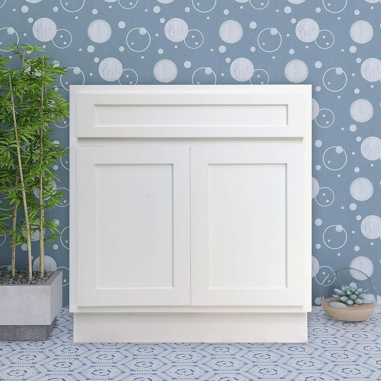 Amazon Com Vanity Art 33 Inch Bathroom Vanity Cabinet Solid Wood White Finish Bathroom Sink Cabinet Organizer With Double Shutter Doors Va4033 W Kitchen Dining
