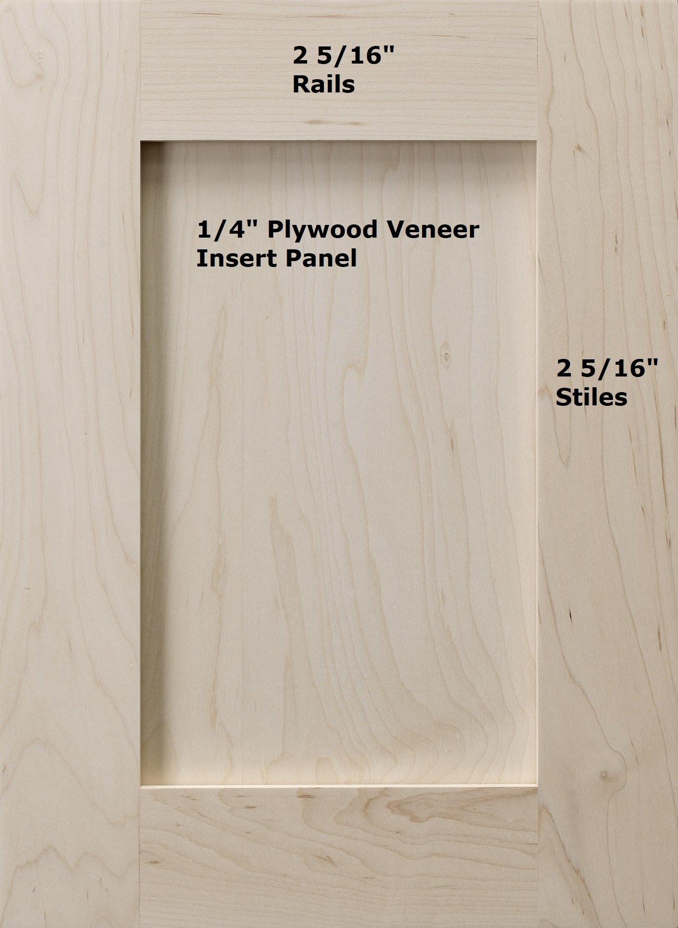 Cabinet Doors 'N' More 16'' x 22'' Unfinished Paint Grade Hard Maple Shaker Recess Panel Kitchen Cabinet Door
