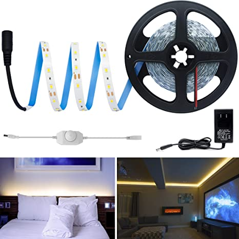 Hitlights Warm White Dimmable Led Strip Lights Kit 16 4 Feet Includes Power Supply And Dimmer 300 Leds 3000k 72 Lumens Per Foot 12v Dc Tape