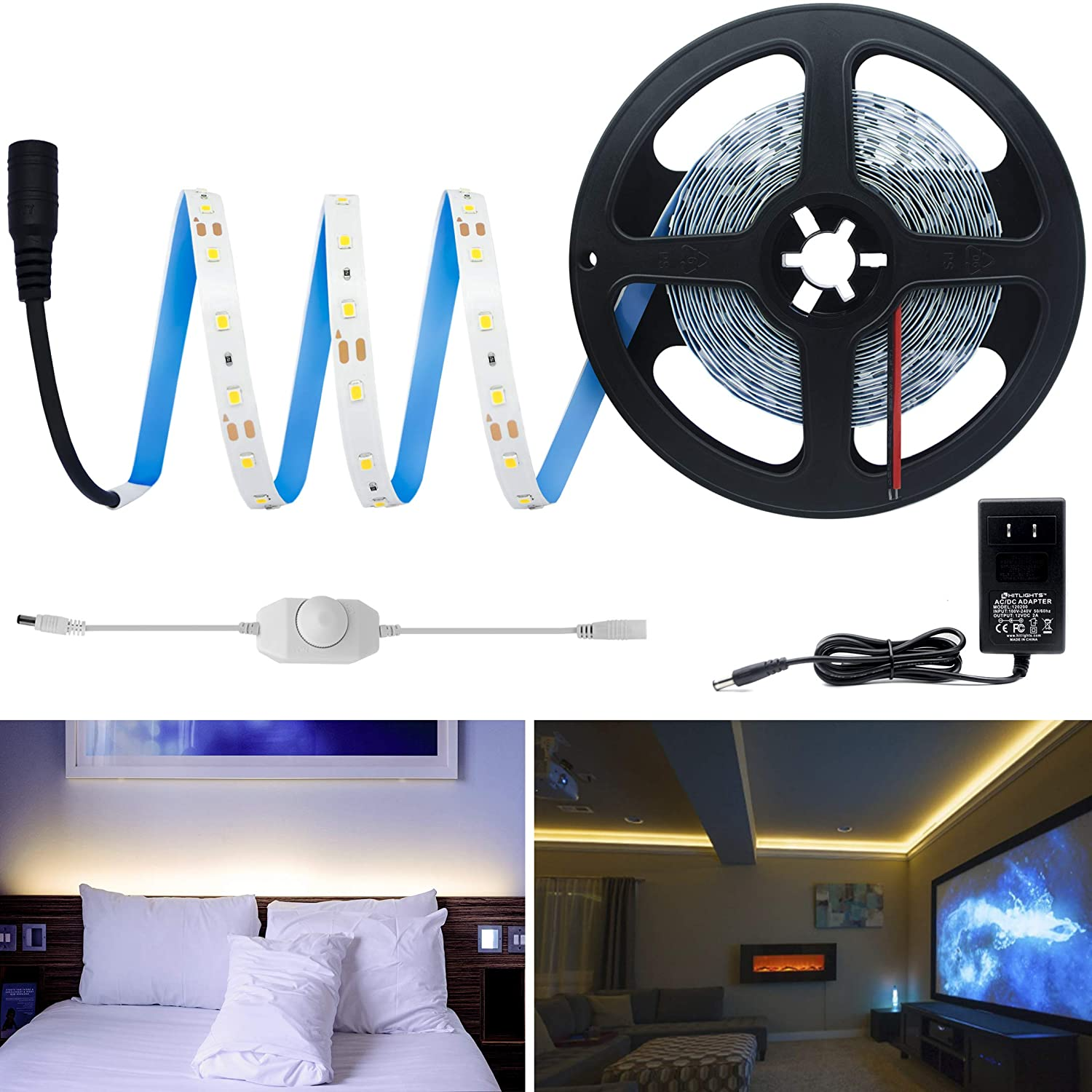 HitLights Warm White Dimmable LED Strip Lights Kit, 16.4 Feet - Includes Power Supply and Dimmer. 300 LEDs, 3000K, 72 Lumens per Foot. 12V DC Tape Light