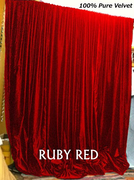 New RUBY Red Velvet Curtains Backstage/CHURCH/ THEATER/SCHOOl 108 W By 108
