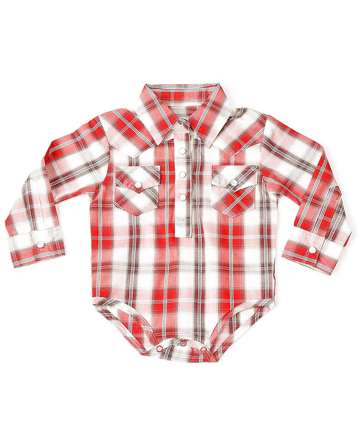 d67918d3 Amazon.com: Wrangler Infant-Boys' Plaid Snap Up Onesie Red 3-6 MOS: Clothing