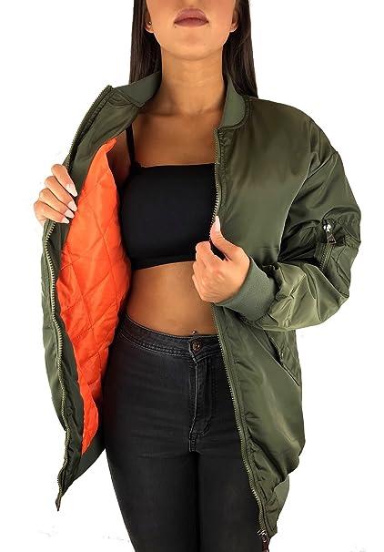 wholesale dealer 07322 add68 Worldclassca Damen Bomber Jacke Oversize Jacket Long ÜBERGANGSJACKE Piloten  Jacke LANG PARKAFLIEGERJACKE Blogger REIßVERSCHLUSS SCHWARZ Army MILITÄRY  ...