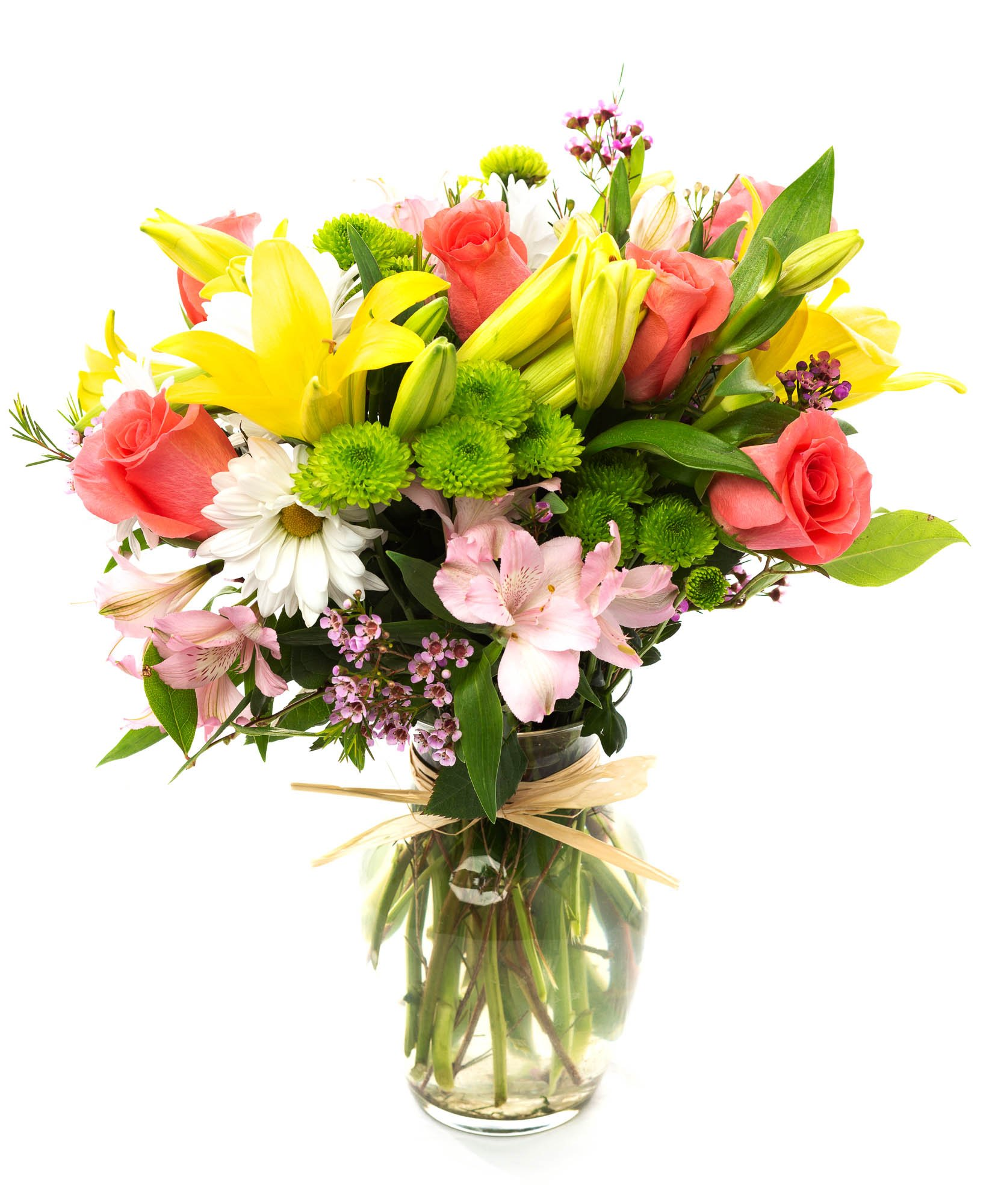 FLWERZ [Fields of Lushness] Natural Beautiful Hand-crafted Colorful Springtime Mother's Day Bouquet with 8oz clear Glass Vase