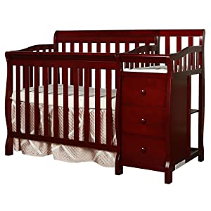 Dream On Me Jayden 4-in-1 Mini Convertible Crib And Changer, Cherry