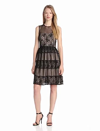 Maggy London Women's Floral Vine Lace Sleeveless Belted Dress, Black, 4