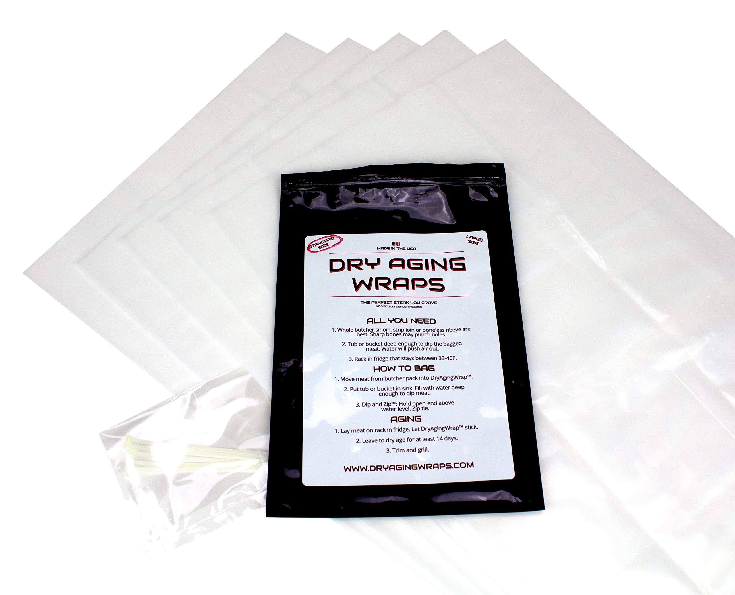DryAgingWraps Dry Aged Bags for Meat | Sized for Ribeye and Short Loin | Perfect for Beginners | Easy at Home Dry Aging | No Vacuum Sealer Needed | 5 Bags with Zip Ties Included