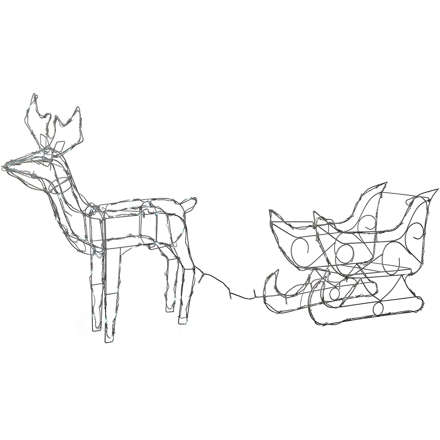 6410c98894 WeRChristmas Pre-Lit Animated Multi-Function Reindeer and Sleigh  Silhouette