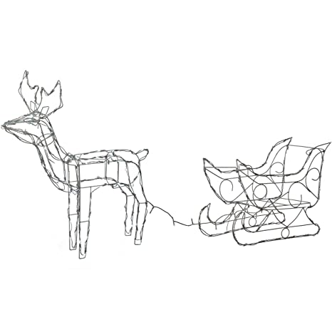 Werchristmas Pre Lit Animated Multi Function Reindeer And Sleigh