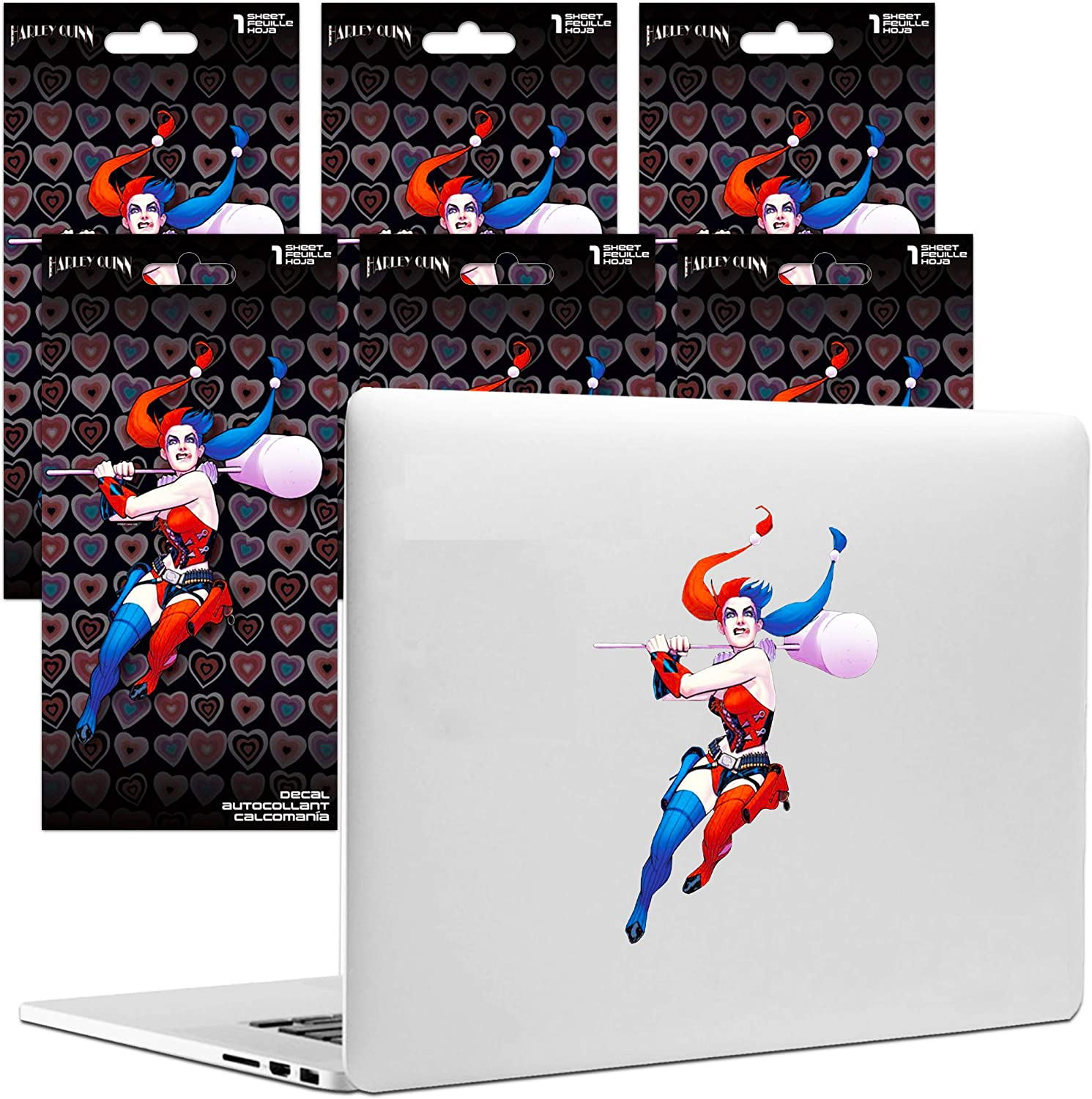 DC Comics Harley Quinn Stickers Decal Bundle ~ 6 Pack Birds of Prey Party Supplies Room Decorations Harley Quinn Wall Decor (Harley Quinn Party Favors)