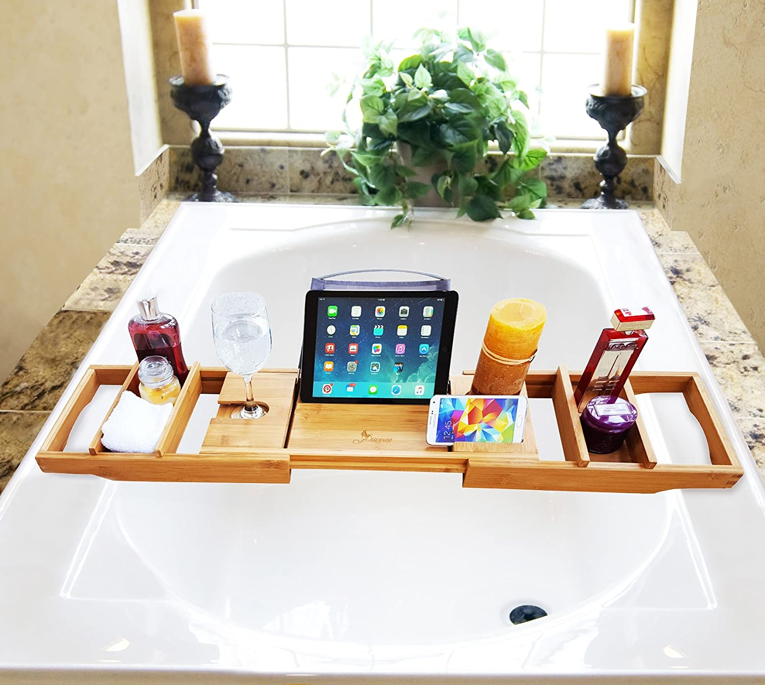 Purvae Luxury Bathtub Caddy With Candle & Book Holder - Natural ...